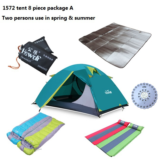 free shipping air mattress sleeping bag groundsheet tent lamp camping tent  8 piece two persons tents  for spring summer  H-1572<br><br>Aliexpress
