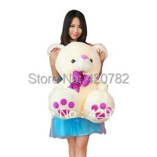 New Arrival Kawaii Purple Foot Teddy Bear Stuffed Plush Toy Doll Birthday Christmas Gift Sitting Height 35cm(China (Mainland))