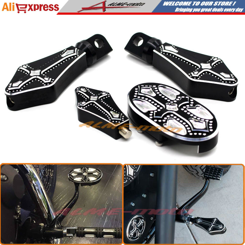 Фотография Motorcycle CNC Billet Aluminum Brake Pedal Pad Cover & Footrests Foot pegs & Shifter Peg For Harley Sportster XL883 XL1200 48