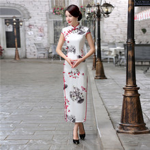 Buy Vintage Button Chinese Style Women's Satin Qipao Print Flowers Long Cheongsam Sexy Dress Club Wear Plus Size S M L XL XXL XXXL for $46.00 in AliExpress store
