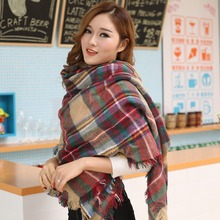 A40 Hot Women Blanket Oversized Tartan Scarf Wrap Shawl Plaid Cozy Checked Pashmina