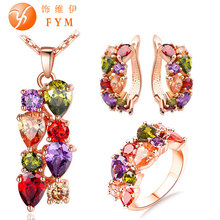 Fashion Colorful Jewelry Sets for Wedding Zircon Flower Pendant Necklace Stud Earrings Ring Rose Gold Plated Bridal Jewelry Sets(China (Mainland))