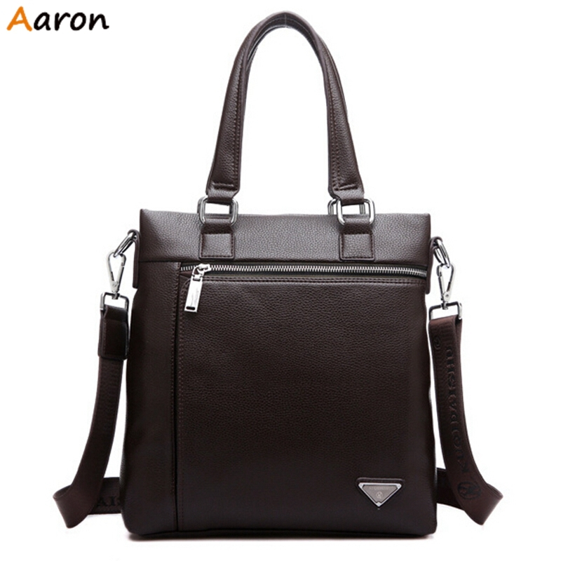 Aaron - Fashionable Triangle Metal Logo Design Mens Handbag On Sale,High Quality Soft Leather Man Shoulder Bags,Waterproof Totes<br><br>Aliexpress