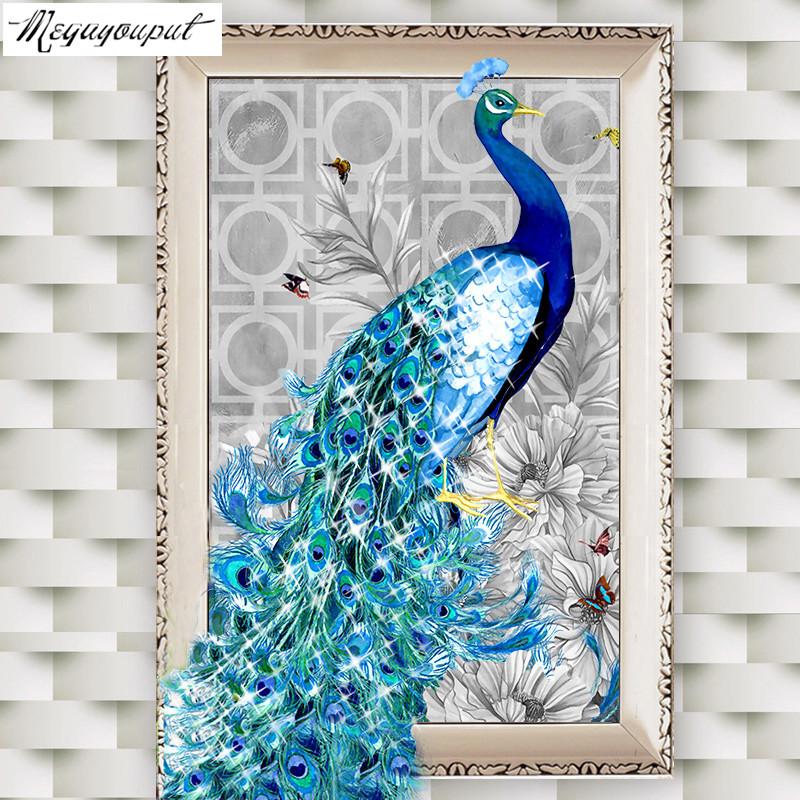 5D diamond embroidery diy diamond Painting peacock pictures diamond mosaic Needlework diamond picture home decor canvas gift(China (Mainland))