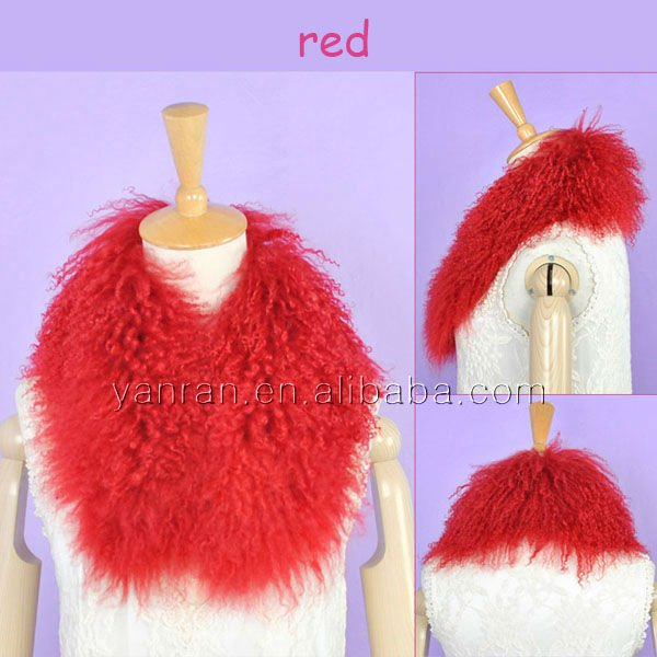 Genuine mongolia fur scarf YR-448A lots colors ~s~retail~OEM~customize - Tongxiang Yanran Fur Factory store
