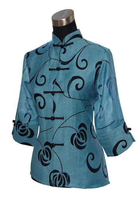 New Fashion Blue Female Linen Shirt Tops Vintage Tang Suit Button Blouse Flower Novelty Plus Size S M L XL XXL XXXL 4XL2206(China (Mainland))