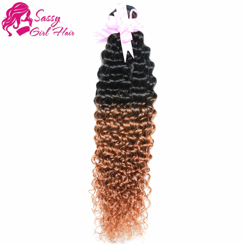 1 Bundle Unprocessed Virgin Peruvian Curly Hair Ombre Kinky Human Hair Weave Kinky Curly Crochet Hair Extensions(China (Mainland))