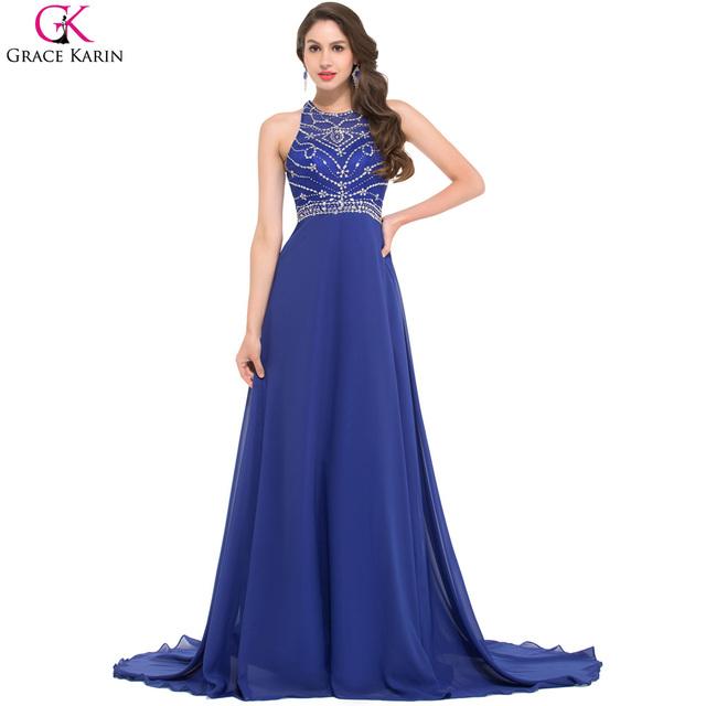 Длиной до пола королевский синий вечернее платье грейс карин шифон спинки женщины ...
