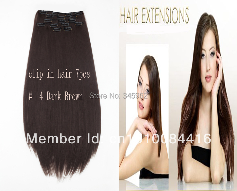 extension clip 170g 24inch best Seller Synthetic hair Kanekalon high temperature fiber #4 Dark Brown - sexy products wigs store