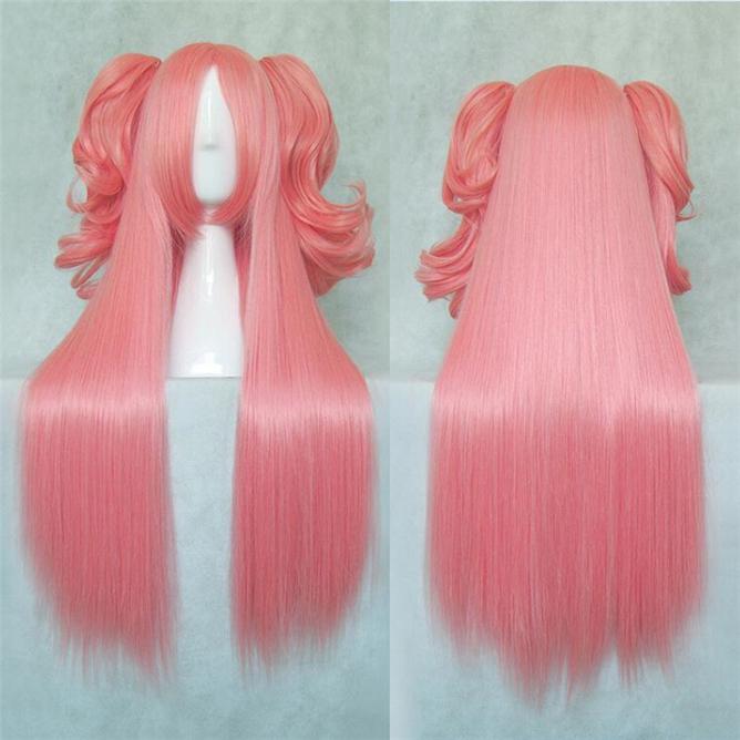 Free Shipping New Soft Puella Magi Madoka Magica Kaname Madoka Cosplay Wig Long Pink Cosplay Wigs Heat Resistance Hair