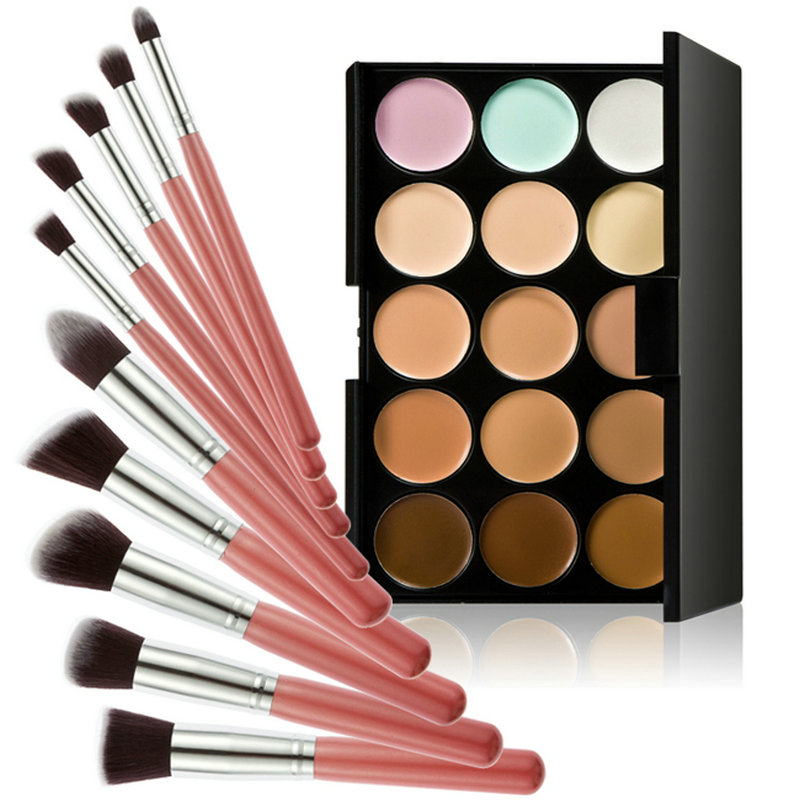 Great Quality 15 Colors Contour Cream Makeup Concealer Palette 10pcs Brush Pink Silver Low Price Free Shipping(China (Mainland))
