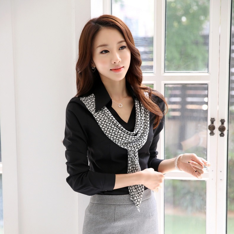 Fashion Blouses Women Shirts Long Sleeve Ladies Office Uniform Blouse Tops OL Style - Kidmall Online Store store