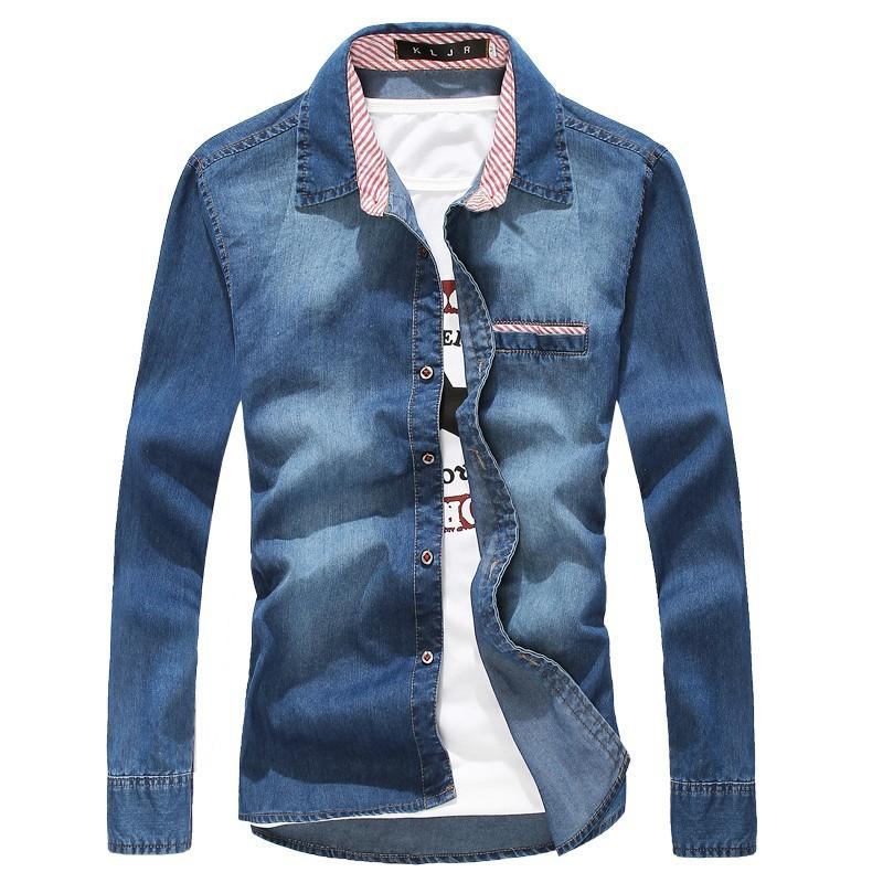 2015 высокое качество с длинным рукавом джинсовые рубашки мужчины свободного покроя рубашка мода уменьшают мужские джинсы рубашки Большой размер 3XL сша Euopean стиль 50off