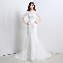 Buy High Scoop Mermaid Wedding Dress lace Applique Half Sleeve Lace bridal dress bridal Gown Vestidos Wedding Gowns c54 for $170.00 in AliExpress store