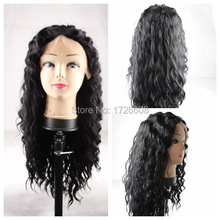 Top Quality Fiber Loose Curly Wigs Synthetic Lace Front Wig Black Color Heat Resistant Synthetic Hair Lace Frontal Closure Wigs