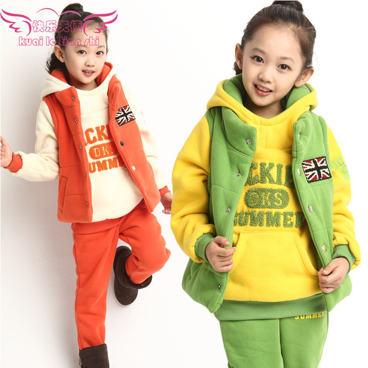 2014 Autumn/Winter New Children's Thick Cotton Padded Hoodie Three Sets,Girls/Boys Frozen Clothing Set For Christmas Season
