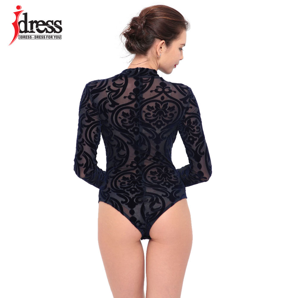 IDress 2017 New Arrival BlackBlue Red Macacao Feminino Mesh Shorts Femme Playsuit Overalls for Woman Long Sleeve Sexy Bodysuit (6)