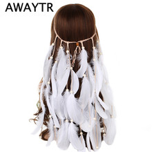 Buy Bohemia BWhite Feather Headband Women Festival Wedding Headwear Boho Gypsy Feather Rope Crown Headdress Hair Accessories for $4.49 in AliExpress store
