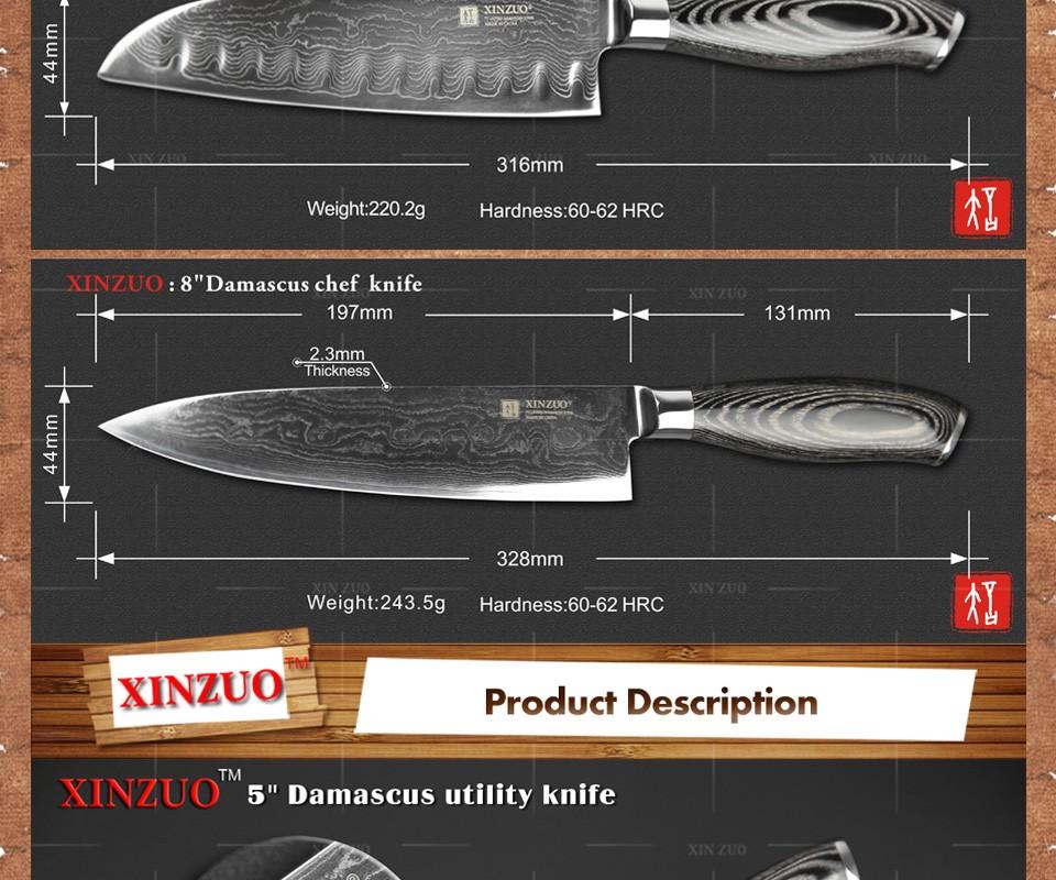Buy xinzuo 3 pcs kitchen knives set Japan Damascus kitchen knife set 73 layer VG10 chef knife chef utility wood handle free shipping cheap