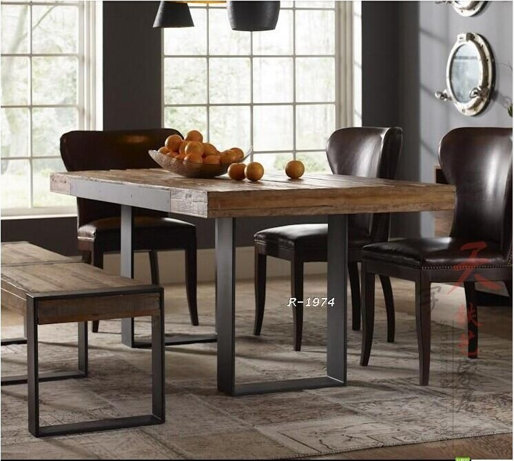 American country wood dining tables and chairs wrought for Ornamental centrepiece for a dining table