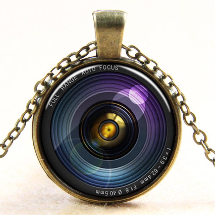 1pc photo glass necklace camera pendant necklace photo glass cabochon charm necklace antique silver antique bronze necklace(China (Mainland))