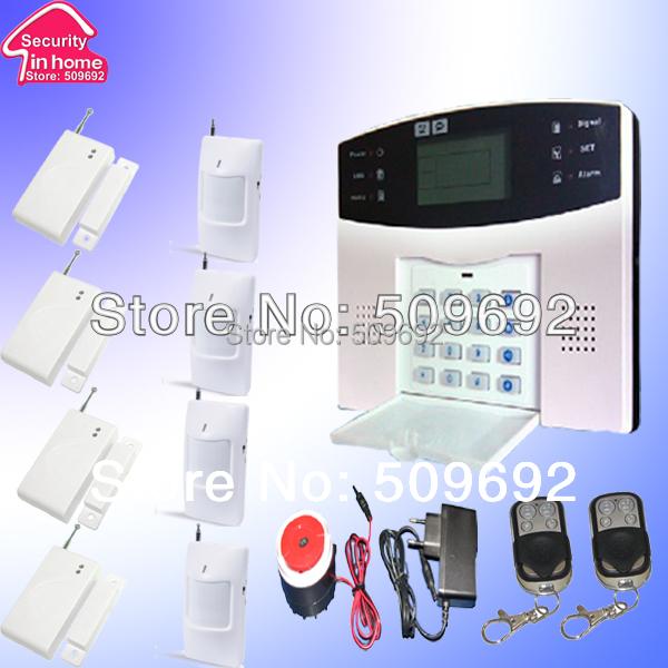 Wireless Home GSM Alarm System with 4 pcs door sensor and 4 pcs PIR sensor Remote Control<br><br>Aliexpress