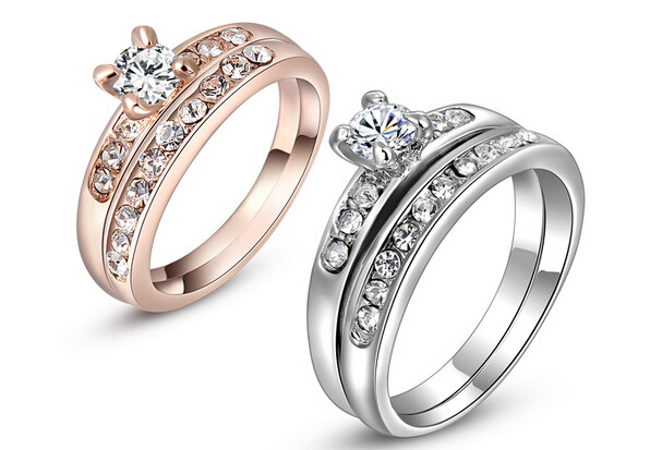 cheap engagement rings fashion white gold plated