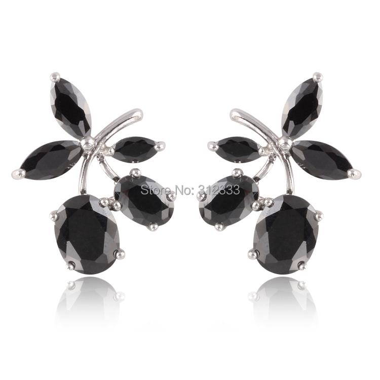 Anti-allergy full Austrian Crystal black / White / purple Artificial diamond cherry Stud Earrings girls party jewelry(China (Mainland))