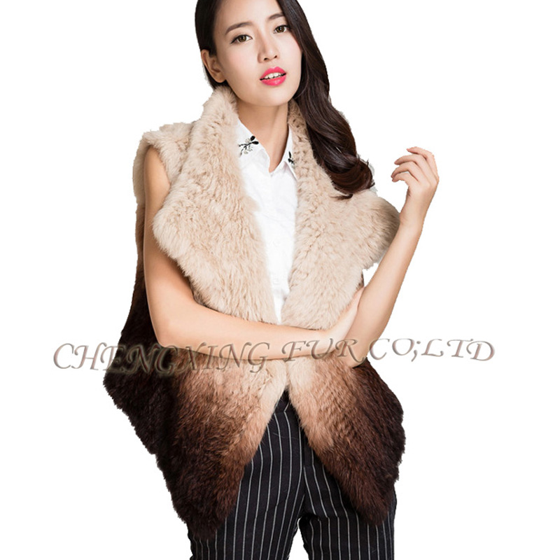 CX-G-B-267A 2015 Women New Fashion Knitted Real Rabbit Fur Vest