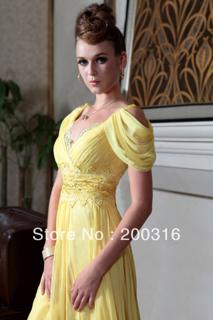 New Arrival A-line V-neck long yellow evening dresses with cap sleeveless Free Shipping By Ems 2013 new evening dress