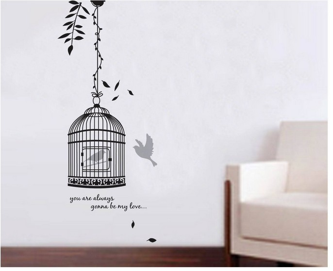 Vintage birdcage home decor islam mural painting wall for Birdcage bedroom ideas