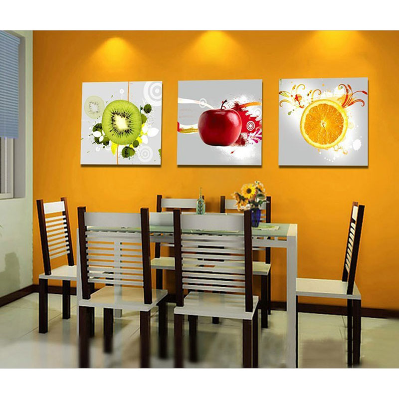 Unframed 3 pieces kiwi fruit orange and red apple modern for Paredes pintadas originales