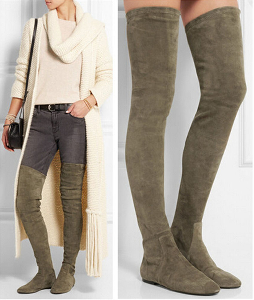 Popular Flat Over Knee Boots Suede-Buy Cheap Flat Over Knee Boots