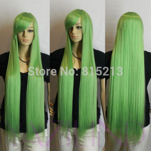dd009286 Womens smoke green ramp bangs long straight Cosplay party full synthetic wig D0315<br><br>Aliexpress