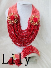 Luxury Bridal African Nigerian Coral Beads Jewelry suit Perfect Wedding women Necklace/Earrings/Bracelet Free Shipping C-709