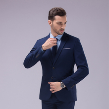 Custom Made Dark Blue and Black Suit, Tailor Made Suit, Bespoke Men Wedding Suit, Slim Fit Groom Tuxedos For Men(Jacket+Pants)(China (Mainland))