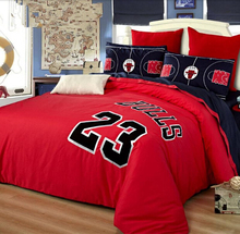 blue red chicago bulls #23 Michael Jordan basketball bedding set Embroidered bed linen Egyptian cotton bedspread queen king size(China (Mainland))