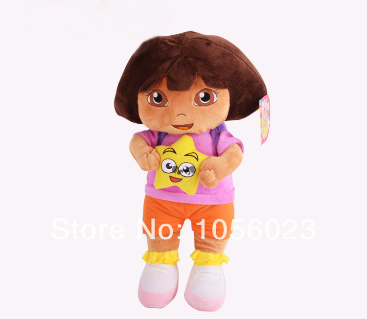 "Free Shipping 1pcs Dora the Explorer with Star - Extra Large Plush Doll New 14"" Wholesale(China (Mainland))"
