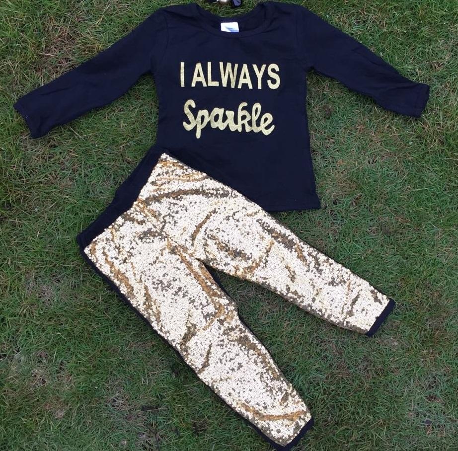 Гаджет  newest girls I always sparkle set girls Gold pant set girls fall clothes girls top black sets kids long sleeve sets None Детские товары