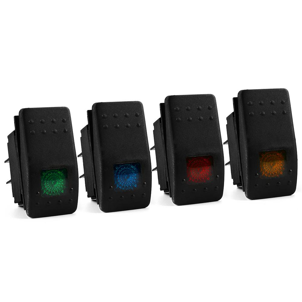Xcsource 20A 12V DC Car Marine LED ON OFF Toggle Switch Dash 4pcs Rocker Switch SPST 4 Pin Blue Green Red Orange MA448(China (Mainland))