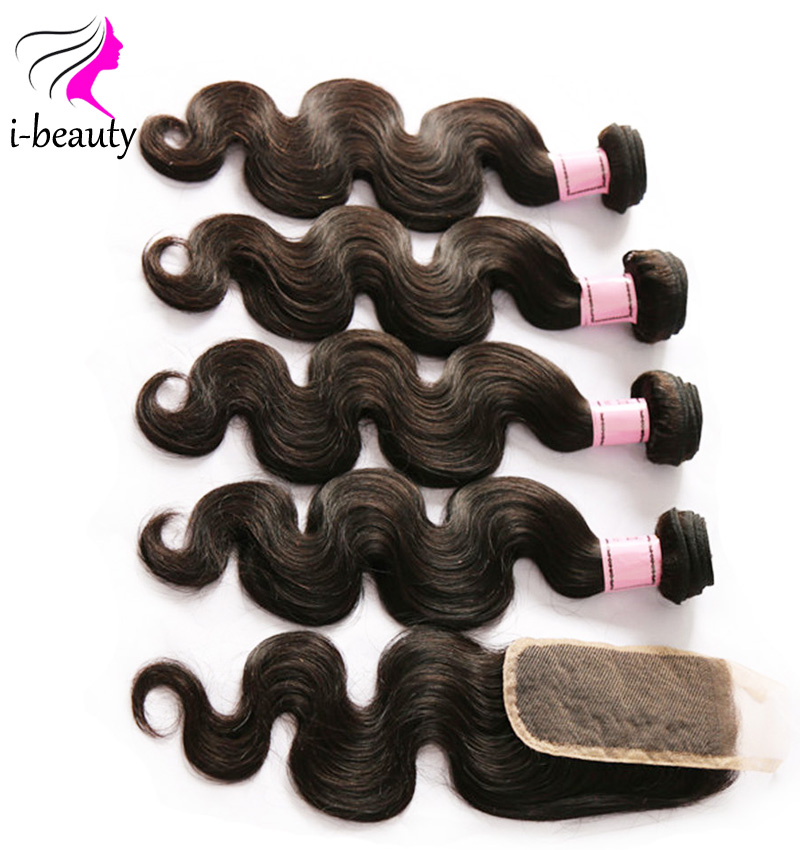 7a Grade Brazilian Virgin Hair Body Wave With Closure 4 Bundles Brazilian Body Wave With Closure Cheap Human Hair With Closure