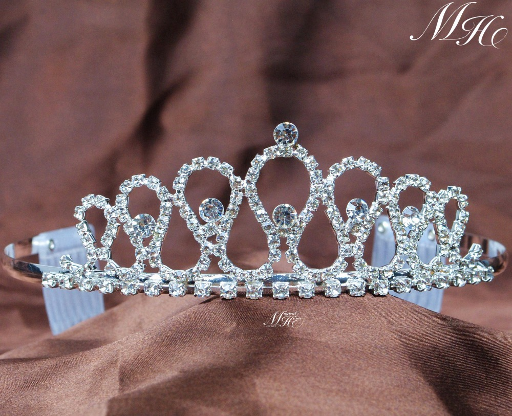Small Sweet Tiaras With Hair Combs Clear Rhinestones Crystal Crowns Pageant Prom Aniversary Party Headbands For Kids(China (Mainland))