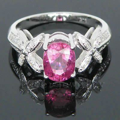 New! 2.06Ct Solid 14K White Gold Diamond Pink Tourmaline Wedding Ring<br><br>Aliexpress