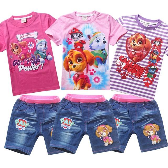 Девушки летней одежды ropa patrulla conjuntos cachorro Щенок патруль комплект одежды ...