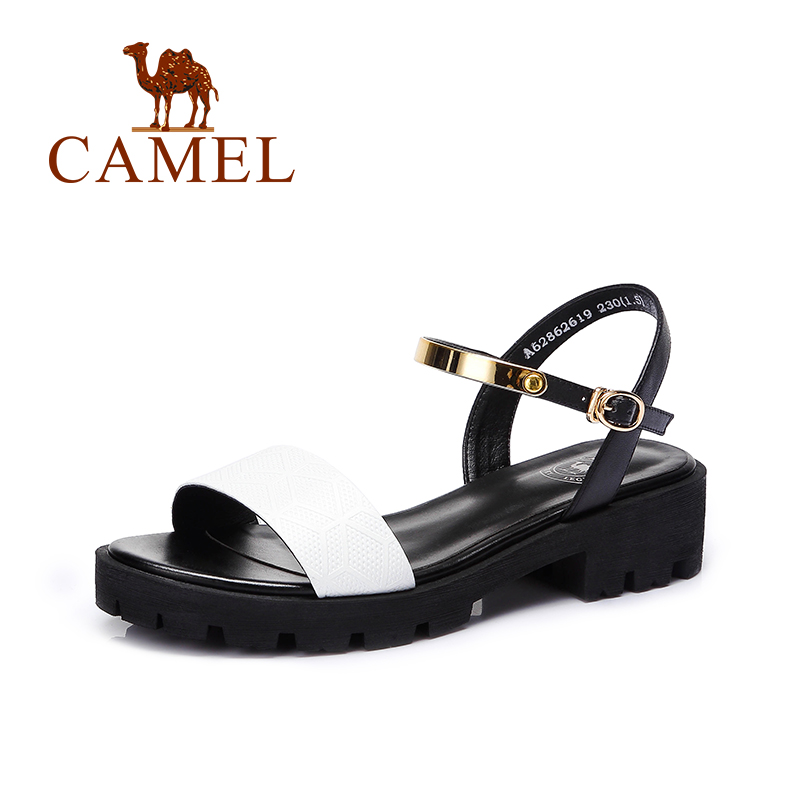 Camel casual cool ladies sandals Chaillot hole pressure soft cowhide leather buckle strap sandals 2016(China (Mainland))