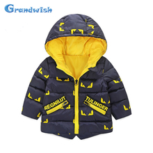 Grandwish New Winter Boys Letter Print Cotton Jackets Kids Parkas Hooded Warm Coat Outerwear Kids Clothing 24M-8T, SC319
