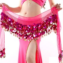 New Donne Belly Dance Costume Hip Scarf Wrap Paillettes Cintura 58 Coin Chiffon Skirt Hot(China (Mainland))