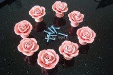 8Pcs/Lot Pink Vintage Rose Flower Ceramic Door Knob Cabinet Drawer Kitchen Cupboard Pull Handle DIY HD017(China (Mainland))