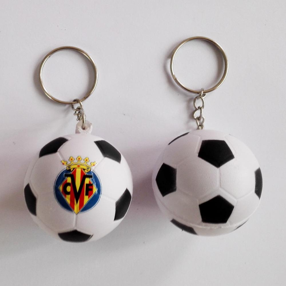 Villarreal CF football team souvenir football keychain,Villarreal CF soccer ball keyring ,4pcs/lot(China (Mainland))