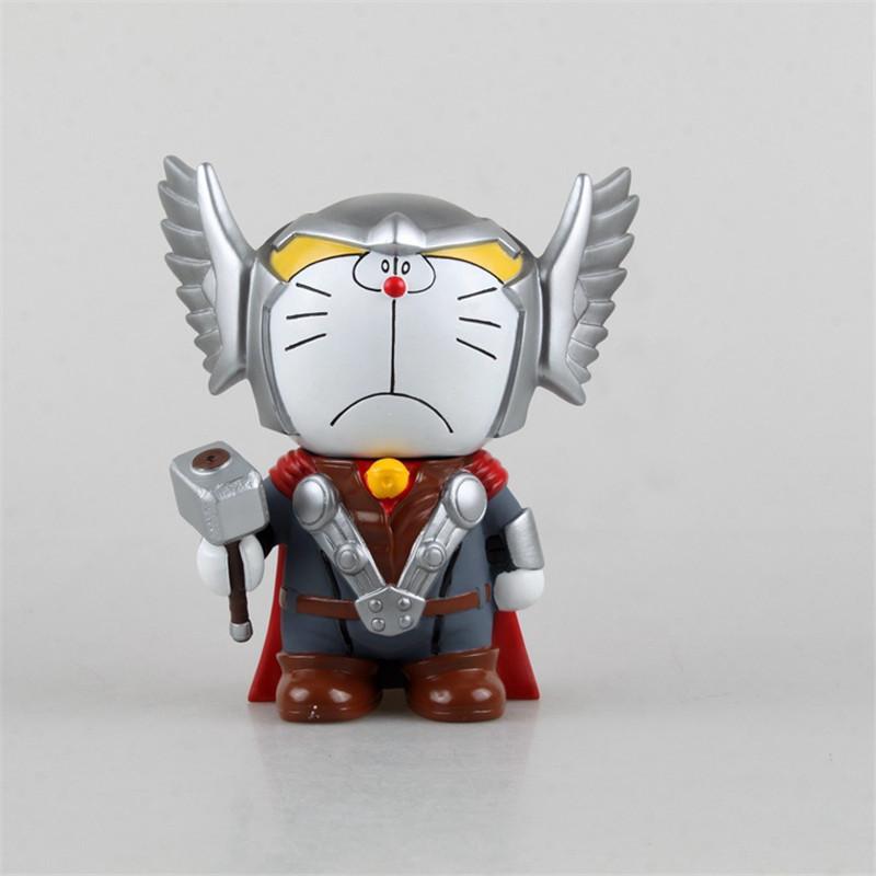 New Classic Japan Doraemon COS Animation Robot Superhero Captain America Ironman Thor Cute Saving Pot PVC Figure Toys New Box(China (Mainland))